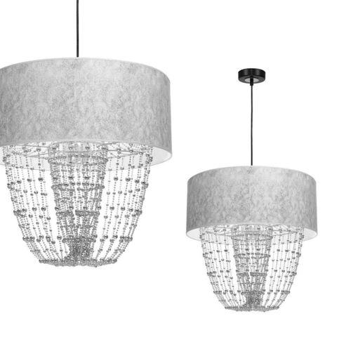Čierne závesné svietidlo Lamap Almeria Silver / Chrome 1x E27
