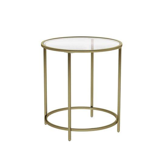 Sklenený konferenčný stolík na zlatom ráme LGT20G VASAGLE