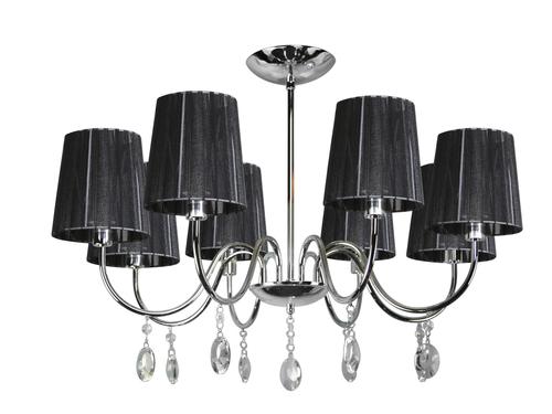 Závesné svietidlo Sorento 8X40W E14 Chrome Lampshade Black