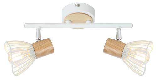 Stropná žiarovka Chile 2Xmax25W E14 biela + drevo