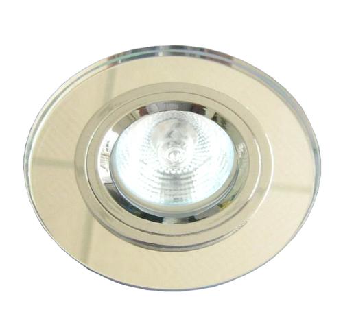 Stropná lampa SS-15 Ch / Wh Mr16 Chrome Eyelet, pevné kruhové sklenené stropné svietidlo, číre sklo