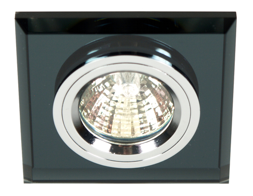 Ss-13 Ch / Bk Mr16 Chromoczko Stropná lampa Stropná lampa. Strop. Fixné štvorcové čierne sklo