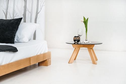 Kocková manželská posteľ 140x200 surového dreva