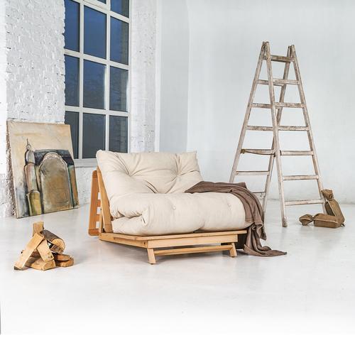 Japonská rozkladacia sedačka FUTON 90x200 Layti 90 olejované bukové drevo (ľanový olej) - krémová