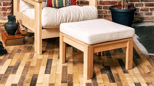 Multifunkčný stolík MEXICO s podnožkou, olejované drevo (ľanový olej) - krém