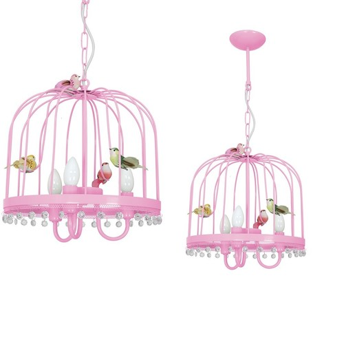 Závesná lampa Canaria Pink 3x E14