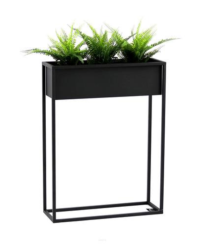 Kovový stojan na kvety CUBO čierny podkrovný box 80x60cm