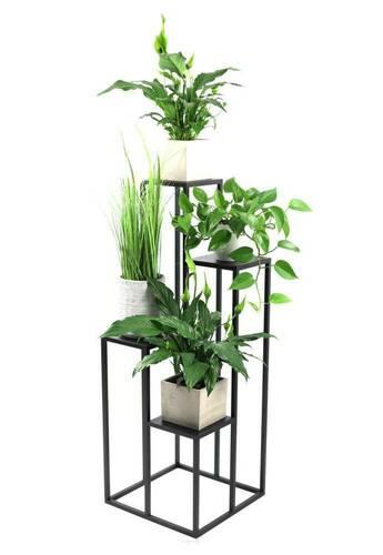 Kovový stojan na kvety pre štyri kvety METALLO 112cm čierny LOFT