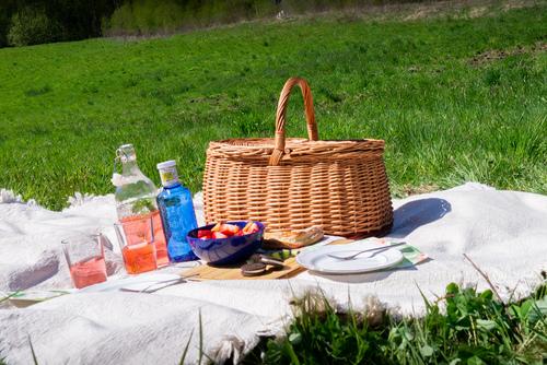 Uzavretý prútený piknik / nákupný košík - ekologický - ručná výroba