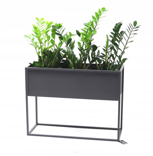 Kovový stojan na kvety CUBO sivá podkrovná krabica 60x80x30cm