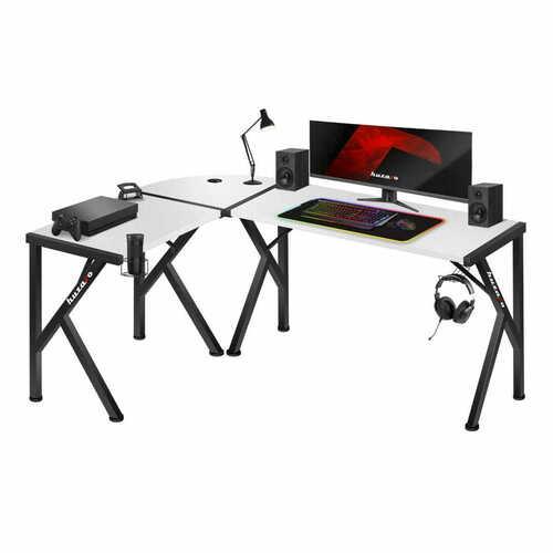 Ultramoderný rohový herný stôl Hero 6.3 biely