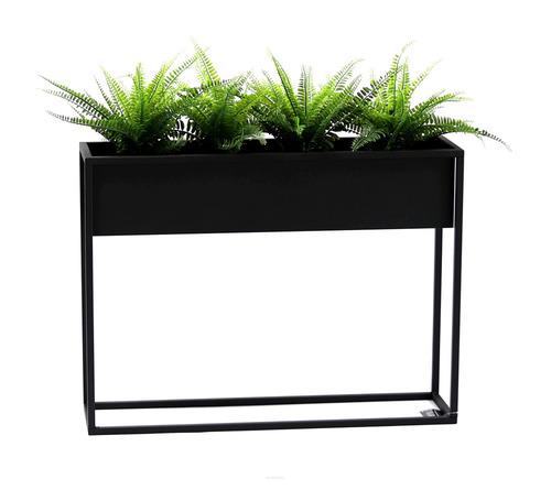 Kovový kvetinový záhon LOFT CUBO čierny 60x80cm