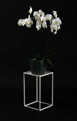 Kvetinový záhon LOFT kovový stojan na jeden kvetináč 40cm biely