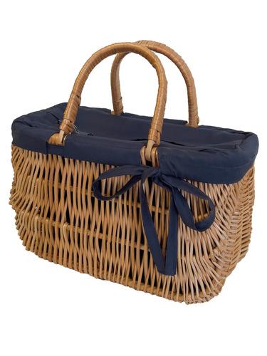 Prútená taška, Prútený košík, ručne robená, tmavomodrá, MALÁ
