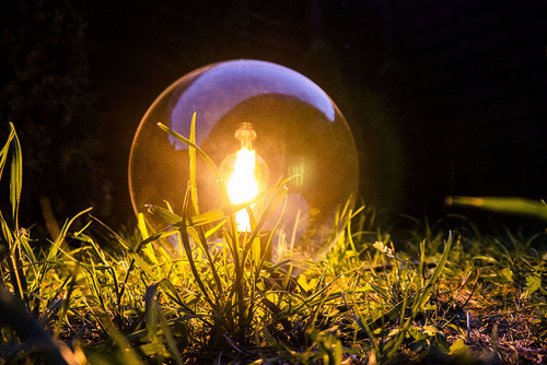 Záhradné guľové svietidlo Luna ball 25 cm, moderné, priehľadné
