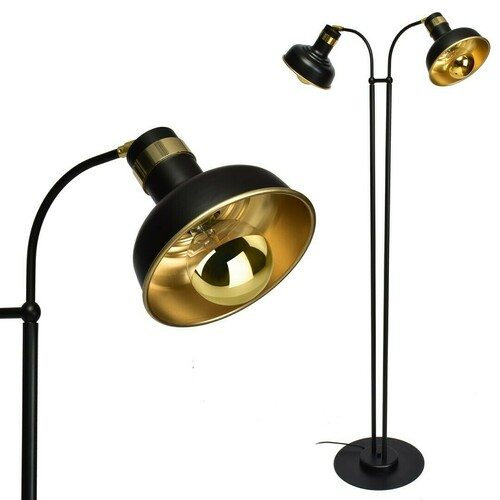 Čierna podlahová lampa Margo čierna / zlatá 2x E27