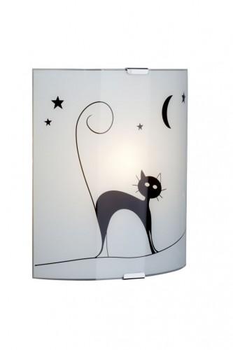 CAT Biele nástenné svietidlo s mačkou