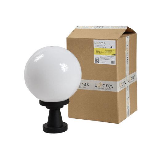 Záhradná lampa Luna Ball Plinto 25 cm E27 LED biely podstavec