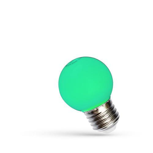 LED guľa E27 230 V 1 W zelené spektrum