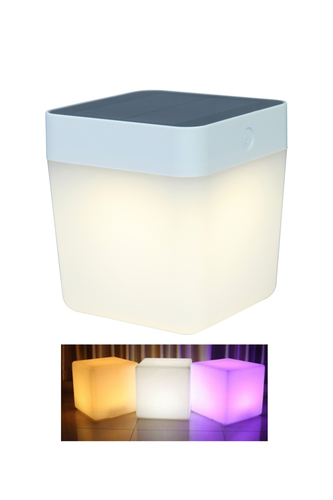 Vonkajšia solárna stolová lampa Lutec TABLE CUBE