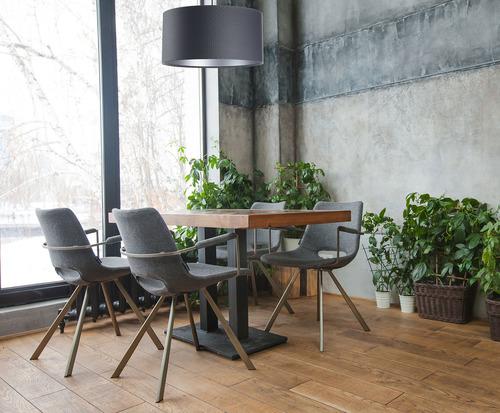 Závesná lampa Koža E27 60W valec grafit strieborná