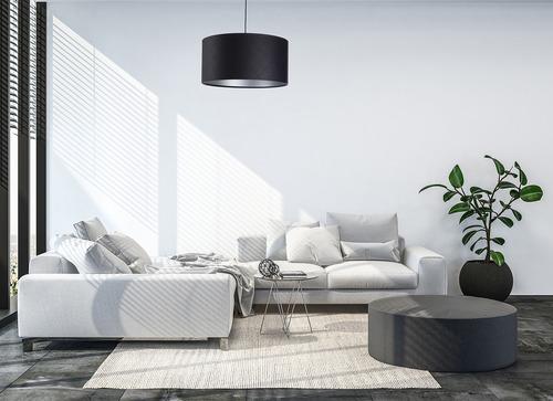 Kožená prešívaná lampa E27 60W valček čierna strieborná
