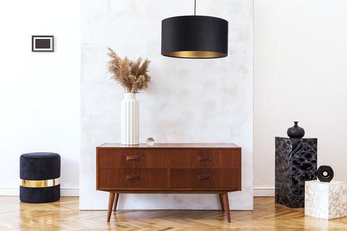 Závesné svietidlo nad stôl Kožené E27 60W prešívané čierne zlato