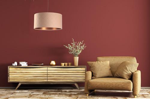 Závesná lampa do jedálne Koža E27 60W prešívaná, lososová, medená