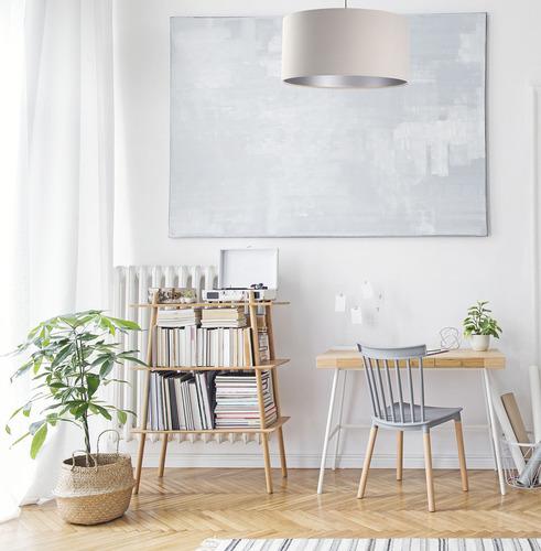 Moderná závesná lampa Koža E27 60W čalúnená, krémová, strieborná