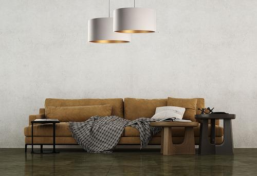 Závesná lampa nad kožený stôl E27 60W, béžová, zlatá