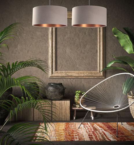 Moderná kožená závesná lampa E27 60W čalúnená, béžová, medená