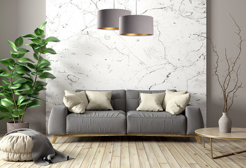 Závesné svietidlo s tienidlom Koža sivá, zlatá E27 60W