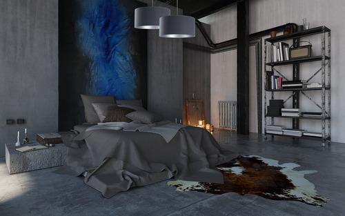 Závesné stropné svietidlo do obývačky Koža námornícka modrá / strieborná E27 60W