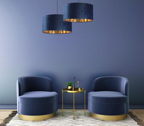 Koža - námornícka modrá závesná lampa, zamatová látka, zlatá E27 60W