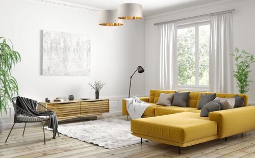 Koža - závesná lampa nad stôl, zamatová látka, krémová / zlatá E27 60W