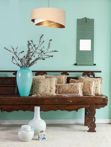 Asymetrická závesná lampa Elegance 60W E27 velúrová látka, béžová / biela / zlatá