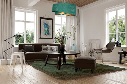 Moderná závesná lampa Elegance 60W E27 asymetrická, velúrová, smaragdová / zlatá