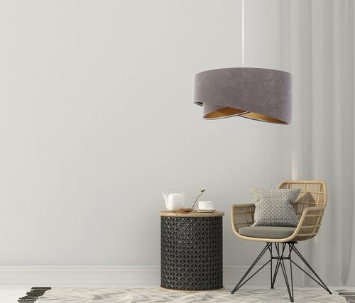 Sivá závesná lampa Elegance 60W E27 asymetrický zlatý velúr