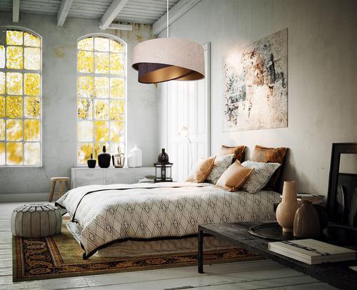 Závesná lampa Elegance 60W E27 asymetrická béžová / hnedá