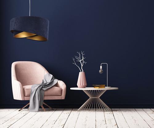 Okrúhla závesná lampa Elegance 60W E27 tmavomodrá / zlatá, velúrová