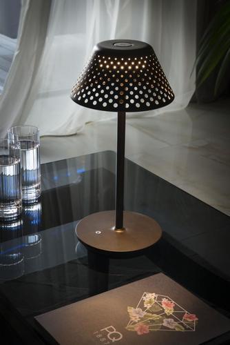 MESH Platek Led - stolová lampa s USB portom - hnedá 4000K