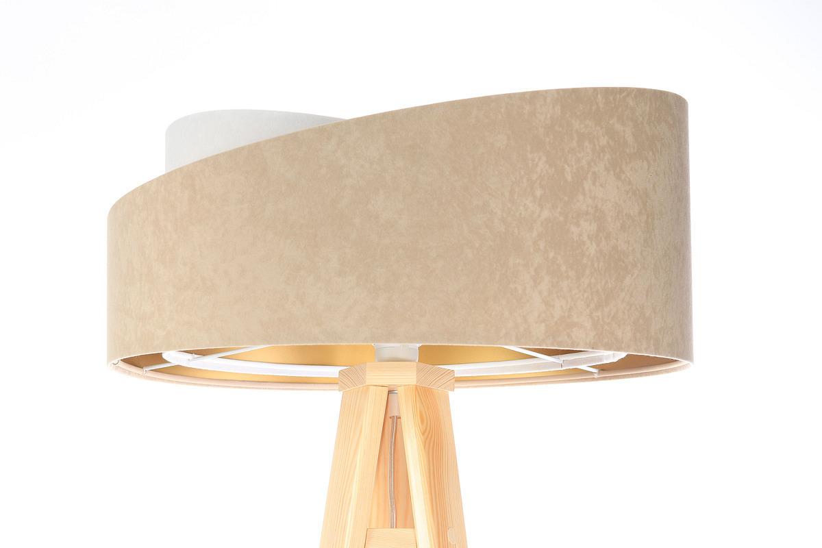 Stojacia lampa Crown 60W E27 velúr, béžová / biela