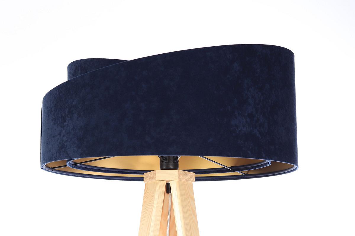 Stojacia lampa na čítanie Crown 60W E27 velúr, tmavomodrá / zlatá