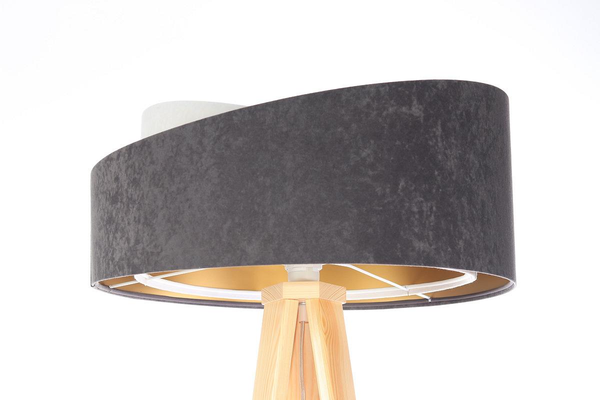 Lampa na statív Crown 60W E27 velúr, sivá / biela / zlatá