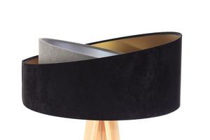Stojacia lampa čierna Crown 60W E27 velúr, šedá / zlatá / strieborná small 1