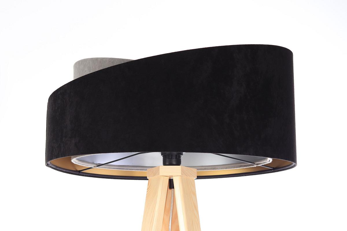 Stojacia lampa čierna Crown 60W E27 velúr, šedá / zlatá / strieborná