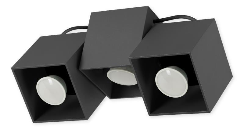 Moderná stropná lampa Kraft 3 čierna