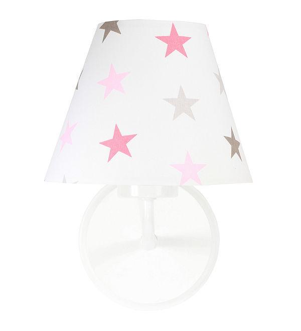Nástenné svietidlo do dievčenskej izby Raggio E27 60W sivé a ružové hviezdičky