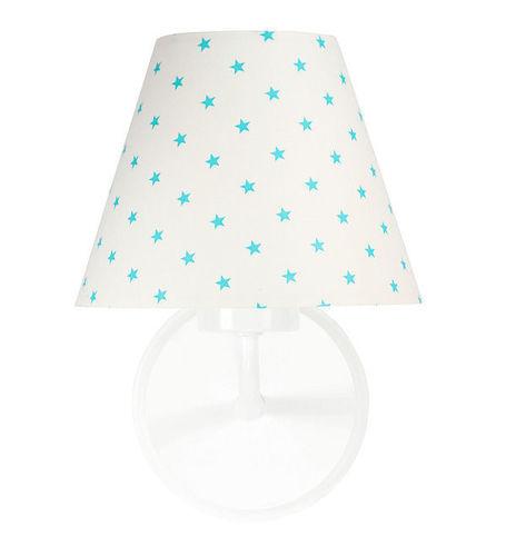 Nočná lampa, nástenné svietidlo pre deti Raggio E27 60W biele / tyrkysové malé hviezdičky