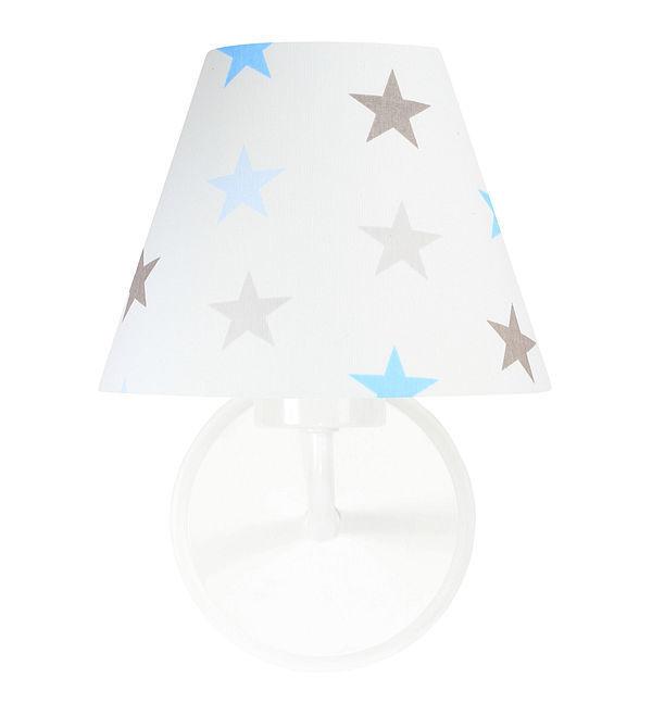 Nástenné svietidlo pre chlapca Raggio E27 60W biele / sivomodré hviezdy